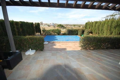 Great view to the swimming pool and the landscape
