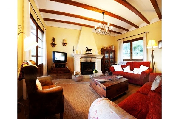 The exquisite living room with chimney and beautiful interior