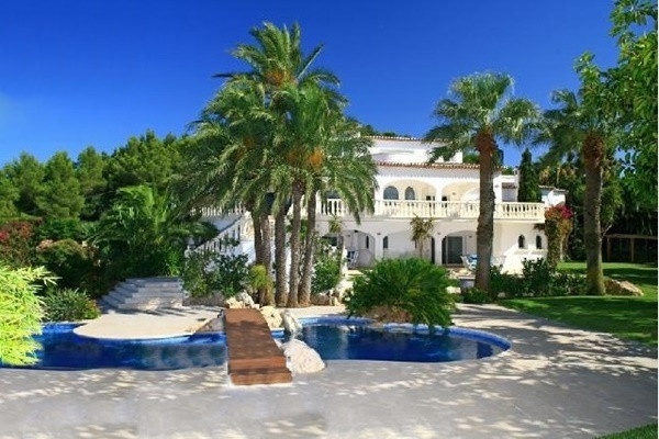 The magnificent Villa surrounded by majestic palm-trees