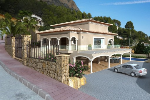 New built villa on a very sunny plot with open view on the valley and the mountains