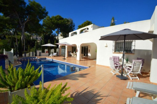 Beautiful Ibiza style villa with sea view in Moraira, Alicante